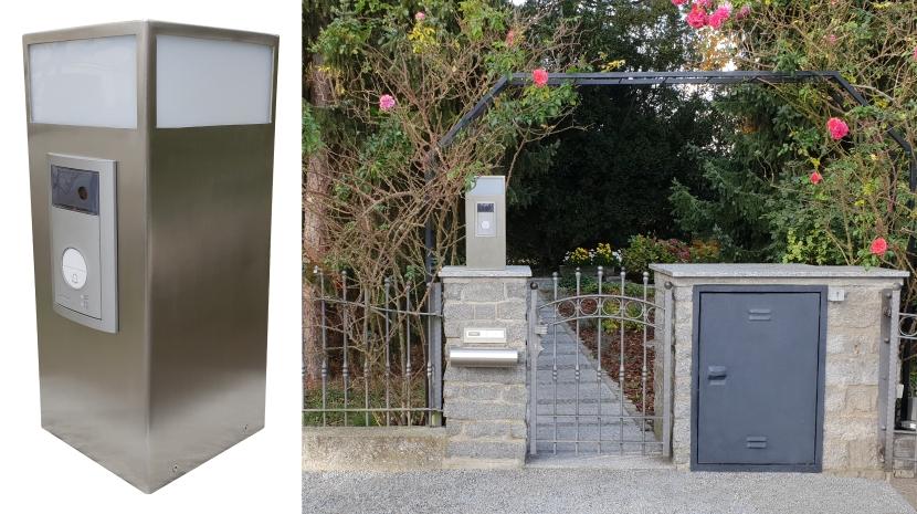 Nachrüstung Video-Sprechanlage in Edelstahl-Sonderkonstruktion, integrierte LED-Leuchte, Smartphone-Gegensprechen, RFID-Türöffnung